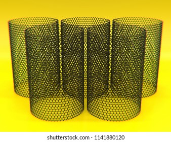 Close-up on five nanotubes of graphene on yellow background. 3d illustration
