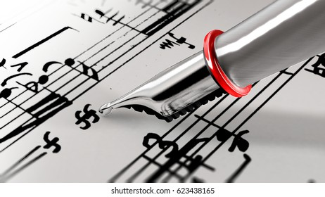 Close-up on a fountain pen of a music composer writing notes on a staff. 3D rendering.