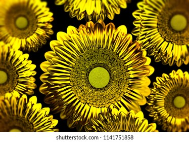 Close-up on golden sunflowers. 3d illustration