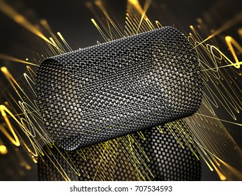 Closeup on a graphene tube with yellow waves. 3d illustration