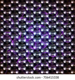 Close-up on a nano structure with purple waves