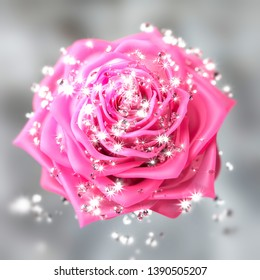 Close-up on a rose flower with diamonds. 3D illustration