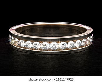 Close-up on a shiny diamond ring on black glossy plane. 3d illustration