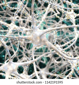 Close-up on white neurons with particles. 3d illustration