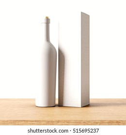 Closeup one not transparent white glass bottle of wine on the wooden desk, gray wall background.Empty glassy container concept with mockup label and carton paper bag for bottles.3d rendering