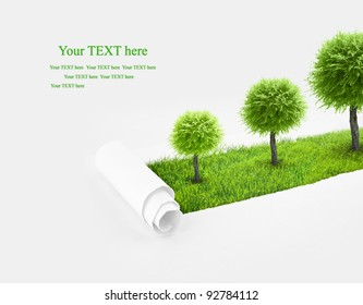 Closeup of a paper hole on grass background with tree