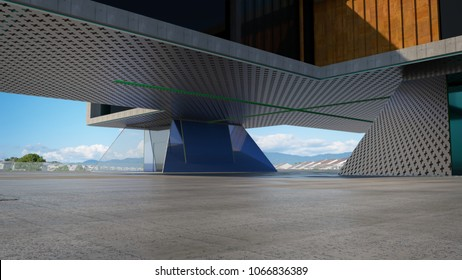 Closeup and perspective view of empty cement floor with steel and glass modern building exterior . 3D rendering and real images mixed media .