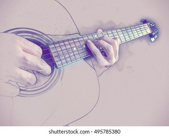 Closeup photo of an acoustic guitar played by a man. Only hands visible. Vintage painting, background illustration, beautiful picture, musical texture