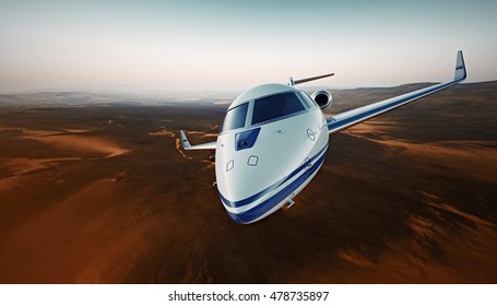 Closeup Photo White Luxury Generic Design Airplane.Private Jet Cruising High Altitude, Flying Over Mountains.Empty Blue Sky with Sun Background. Business Travel Concept. Horizontal. 3D rendering