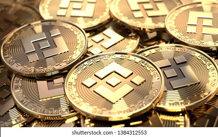 Closeup of a pile of Binance coins. Virtual crypto-currency in physical form. 3D Rendering.
