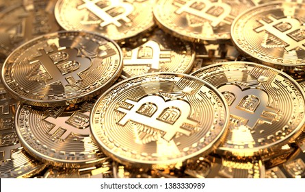 Closeup of a pile of Bitcoin coins. Virtual crypto-currency in physical form. 3D Rendering.