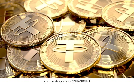 Closeup of a pile of Tether coins. Virtual crypto-currency in physical form. 3D Rendering.