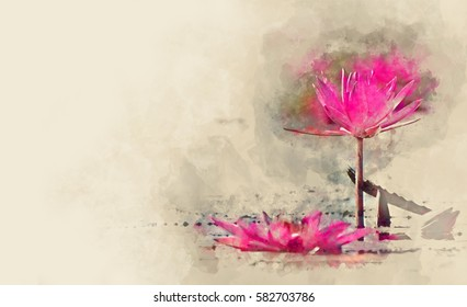Close-up of pink water lily in watercolor painting.
