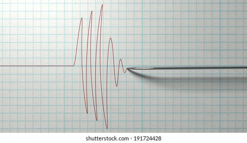 A closeup of a polygraph lie detector test needle drawing a red line on graph paper on an isolated white background