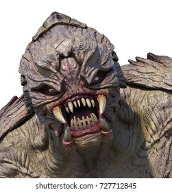 Close-up portrait of an aggressive alien monster - 3D render.