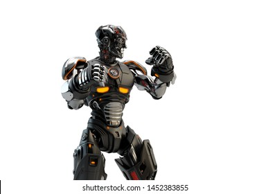 Close-up Portrait Of A black Robot boxer in a Fighting Stance, 3d rendering