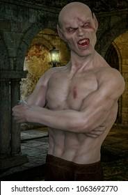 Close-up portrait of a nosferatu vampire. 3D Illustration.
