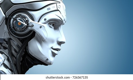 Closeup portrait of robot head. Artificial design concept. 3d render