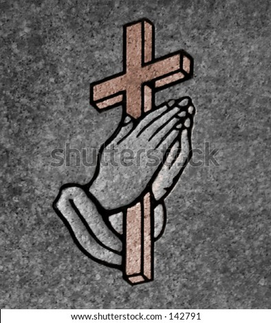 74a3420d2 closeup of praying hands holding a cross on a granite gravestone -  Illustration