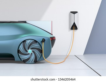 Close-up rear parts of autonomous electric car charging in charging station. 3D rendering image.