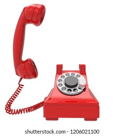 closeup of red vintage phone ringing, isolated on white background, 3D illustration