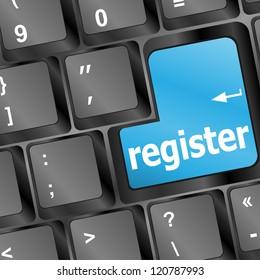 Closeup of register key in a modern keyboard, raster