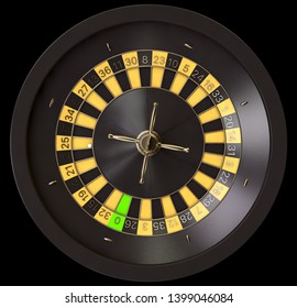A closeup of a regular black roulette wheel with yellow and black markers and gold detail on an isolated background - 3D render