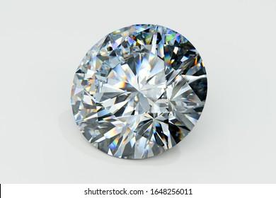 Close-up round diamond on white background 3d illustration