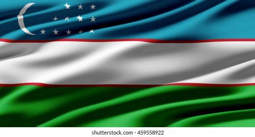 Close-up of ruffled flag of Uzbekistan, background texture (High-resolution 3D CG rendering illustration)