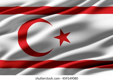 Close-up of ruffled Turkish Republic of Northern Cyprus flag , background texture (High-resolution 3D CG rendering illustration)