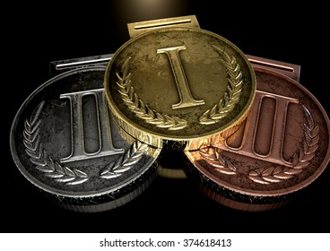 A closeup set of gold, silver and bronze medals on a dark background