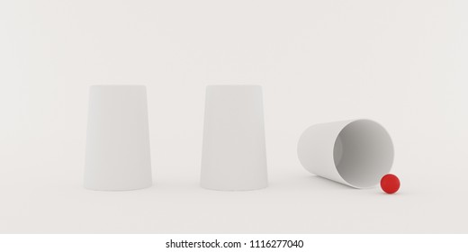 Closeup of shell game,white three glass with red small ball on white background,3d rendering