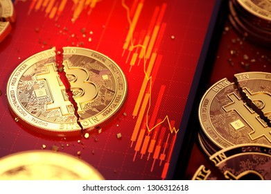 Close-up shot of Broken bitcoin split in two pieces laying on a smartphone screen with stock-market diagram in red color. 3D rendering