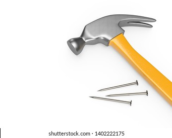 Closeup shot of hammer and nails on a white background. 3D rendering