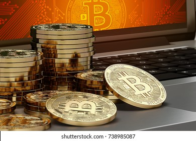 Close-up shot on Bitcoin piles laying on computer with Bitcoin logo on-screen. Bitcoin trading concept. 3D rendering