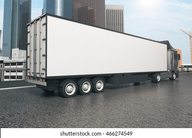 Closeup and side view of empty black truck trailer on city background. Mock up, 3D Rendering