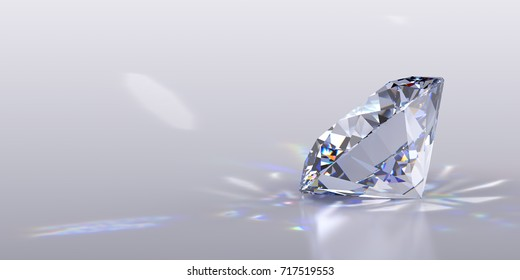 Close-up side view of a round brilliant cut diamond with caustics rays on light gray glossy background. 3D rendering illustration.
