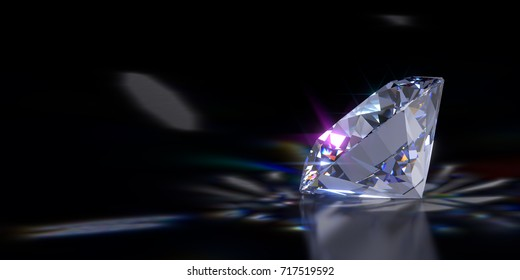 Close-up side view of a sparkling round brilliant cut diamond with caustics rays on black glossy background. 3D rendering illustration.