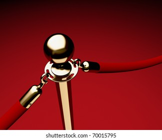Closeup of single brass stanchion with velvet ropes.