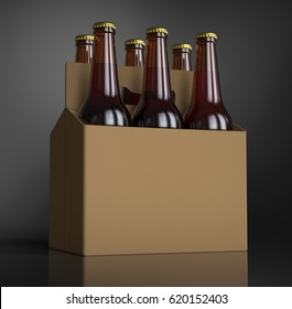 Closeup of a Six brown beer bottles in cardboard box. 3D render, studio light, dark gray spot background.