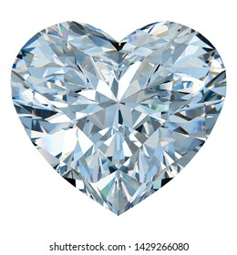 Close-up sketch of heart cut diamond. Isolated on white background. 3D illustration