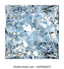 Close-up sketch of princess cut diamond. Isolated on white background. 3D illustration