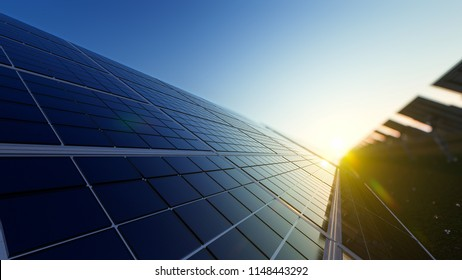 Closeup of Solar Panels in a Row on a Sunny Day 3d rendering