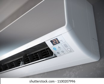 Closeup of split air conditioner on a gray wall. 3d rendering