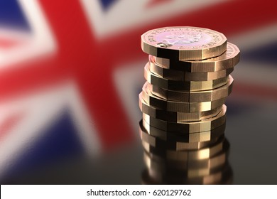 Close-up of a stack of British 2017 pound coins against a reflection of the British flag in background. 3D rendering.