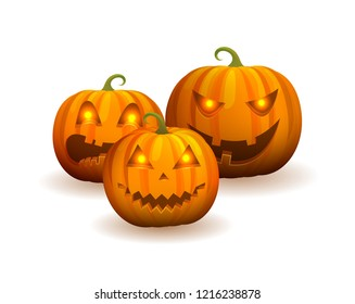 Closeup of three jack-o-lanterns with creepy carved smile and glowing eyes, icons represented on raster illustration isolated on white