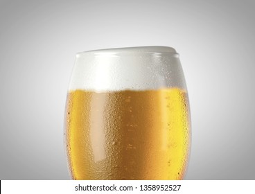 A closeup of the top half of an ice cold chalice shaped beer glass filled with beer and a head of foam on an isolated white background - 3D renders
