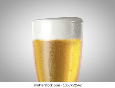 A closeup of the top half of an ice cold weizen shaped beer glass filled with beer and a head of foam on an isolated white background - 3D renders