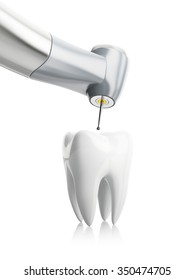 close-up of the treatment of tooth, concept isolated on white background