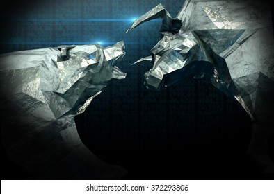 A closeup of two chiseled metal depicting a stylized bull and a bear in contrasting light on a stock market background